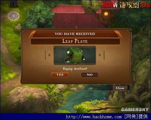 对话完毕之后,会获得bear熊 打开旁边的箱子会获得leaf plate(增加英雄25%HP) 点击右上角的图标之后在点击英雄头像会弹出一个窗口分别可以查看英雄的属性,部队的编制,宝物的装备 宝物只可以装备一件!