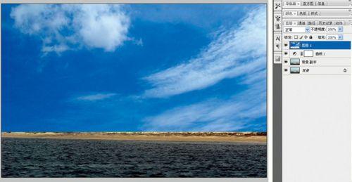 Photoshop给风景照片更换蓝色天空