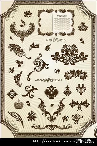 复古咖啡色花纹装饰设计素材