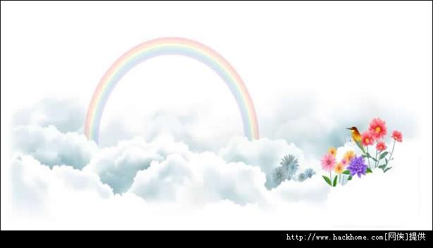 白云彩虹热气球ppt模板