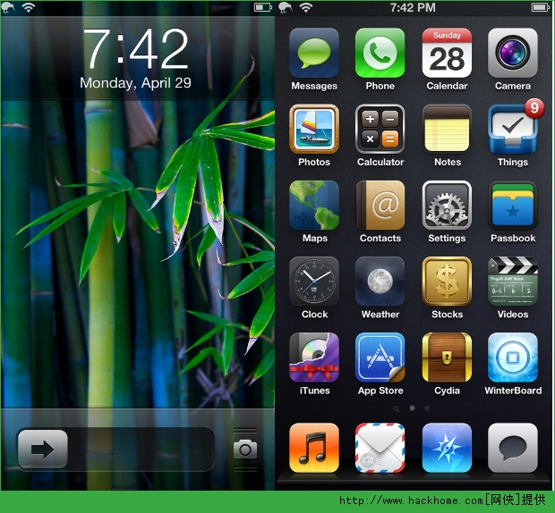 苹果手机ios7绿色主题