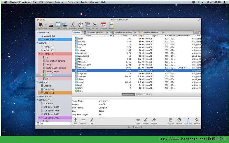 navicat premium for mac是一款强大的数据库管理