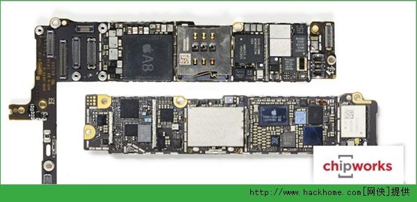 按照惯例,智能手机SoC都是由处理器、内存PoP封装在一起而成的,内存在上边。这里的容量还是1GB,来自尔必达或者海力士。  APL1011是处理器本身的编号,不同于以往的98结尾A4 APL0398、A5 APL0498、A6 APL0598、A7 APL0698。 这是拿掉内存之后,处理器的真身。三行标识中,头两行是编号,最后一行是制造时间:2014年第43周,也就是7月中旬。 外围焊点有三圈,比以前多了一圈。  金属顶层照片:8.