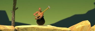 在罐子里的男人用锤子爬山